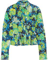 MSGM | Ruffled Floral-print Cotton Shirt | Lyst