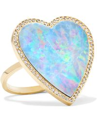 Jennifer Meyer | Heart 18-karat Gold, Opal And Diamond Ring | Lyst