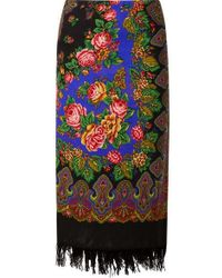 e9a48987788b Vetements - Scarf Wrap-effect Fringed Printed Wool Midi Skirt - Lyst