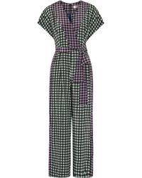 Diane von Furstenberg - Wrap-effect Belted Gingham Silk Crepe De Chine Jumpsuit - Lyst