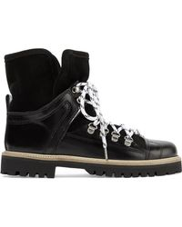Ganni - Edna Shearling-lined Leather And Suede Ankle Boots - Lyst
