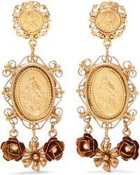 Dolce & Gabbana - Gold-tone Faux Pearl Clip Earrings - Lyst