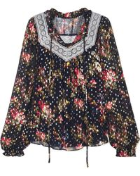 Needle & Thread - Winter Forest Floral-print Fil Coupé Chiffon Top - Lyst