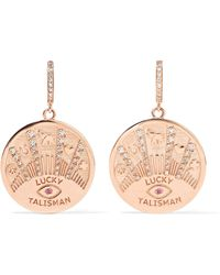 Marlo Laz - Talisman Coin 14-karat Rose Gold, Diamond And Ruby Earrings - Lyst