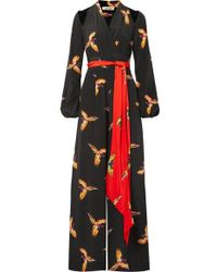 Diane von Furstenberg - Cutout Belted Printed Silk Crepe De Chine Jumpsuit - Lyst