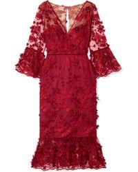 Marchesa notte - Velvet-trimmed Appliquéd Tulle Midi Dress - Lyst