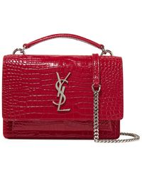 Saint Laurent - Sunset Small Textured-leather Shoulder Bag Red One Size -  Lyst 77bd6e0b6f0c6