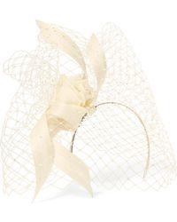 Philip Treacy - Crystal-embellished Mesh, Satin And Buntal Straw Headpiece - Lyst