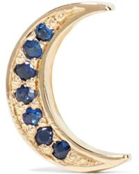 Andrea Fohrman - Mini Crescent 14-karat Gold Sapphire Earring - Lyst