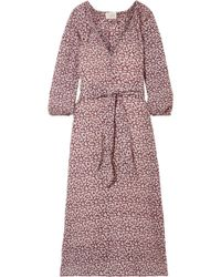 The Great - The Derby Floral-print Cotton-gauze Midi Dress - Lyst