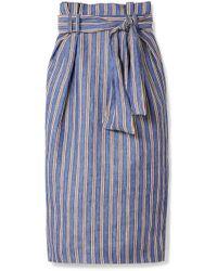 Gabriela Hearst - Jordon Belted Pinstriped Linen Midi Skirt - Lyst