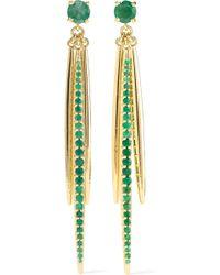 Ileana Makri - Grass Leaves 18-karat Gold Emerald Earrings - Lyst