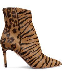 Aquazzura - Alma Animal-print Pony Hair Ankle Boots - Lyst