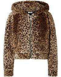 Re/done | The Teddy Bear Hooded Leopard-print Faux Fur Jacket | Lyst