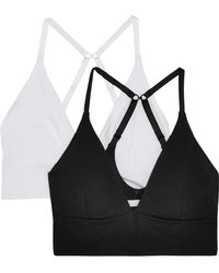 Skin - Helen Set Of Two Organic Pima Cotton-blend Jersey Soft-cup Triangle Bras - Lyst