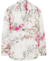 Equipment - Tabitha Simmons Slim Signature Printed Washed-silk Shirt - Lyst