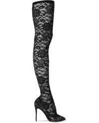 Dolce & Gabbana - Stretch-lace Thigh Sock Boots - Lyst