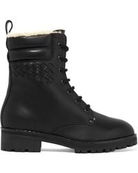 Bottega Veneta - Shearling-lined Intrecciato Leather Ankle Boots - Lyst