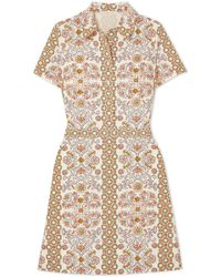 Tory Burch - Port Printed Cotton-poplin Dress - Lyst