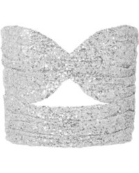 Attico - Sequinned Strapless Top - Lyst