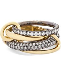Spinelli Kilcollin - Set Of Four 18-karat Gold And Rhodium-plated Sterling Silver Diamond Rings - Lyst