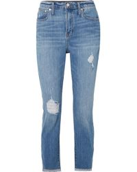 Madewell - The High-rise Slim Boyjean Distressed Jeans - Lyst
