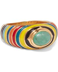 Percossi Papi - Gold, Enamel And Emerald Ring - Lyst