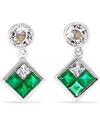 Ileana Makri - Dangling Rhombus 18-karat White Gold, Sapphire And Emerald Earrings - Lyst