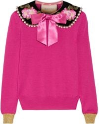 Gucci - Embellished Cashmere And Silk-blend Sweater - Lyst