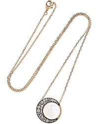 Noor Fares - Tilsam Eclipse 18-karat Gray Gold, Moonstone And Diamond Necklace Gold One Size - Lyst