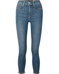 Rag & Bone - Cropped Frayed High-rise Skinny Jeans - Lyst
