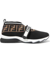 Fendi - Rockoko Logo-jacquard Stretch-knit And Mesh Slip-on Sneakers - Lyst