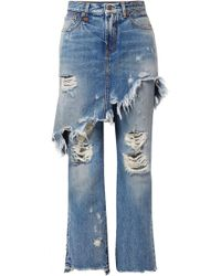 R13 - Double Classic Distressed Mid-rise Straight-leg Jeans - Lyst