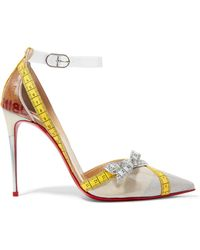 25806018c761 Christian Louboutin - Metripump 100 Tape-trimmed Patent-leather And Pvc  Pumps - Lyst