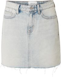 Current/Elliott - The Five Pocket Frayed Denim Mini Skirt - Lyst
