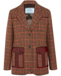 Prada - Leather-trimmed Checked Wool-blend Blazer - Lyst