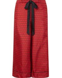 Kiki de Montparnasse - Desir Cropped Printed Silk-twill Pajama Pants - Lyst