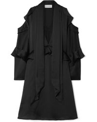 By Malene Birger - Alberto Cold-shoulder Ruffled Satin Mini Dress - Lyst