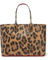 29486dfd835 Christian Louboutin - Cabata Spiked Leopard-print Textured-leather Tote -  Lyst