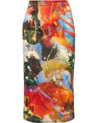 Mugler - Printed Satin Skirt - Lyst