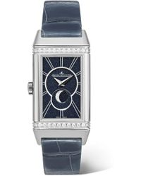 Jaeger-lecoultre - Reverso One Duetto Moon 20mm Stainless Steel, Alligator And Diamond Watch - Lyst