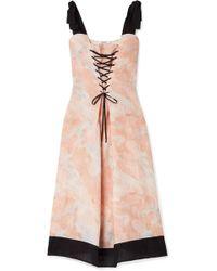 Marysia Swim - Santaquin Lace-up Printed Linen Midi Dress - Lyst