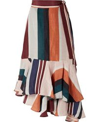 Apiece Apart - Rosita High Rise Linen And Silk Blend Wrap Skirt - Lyst