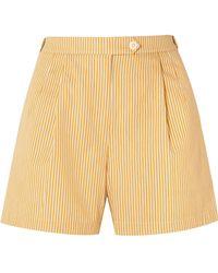 Tory Burch - Striped Cotton Shorts - Lyst