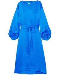 Rhode Resort - Delilah Belted Hammered Silk-satin Midi Dress - Lyst