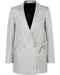 Blazé Milano - Everyday Double-breasted Metallic Linen-blend Blazer - Lyst