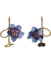 Marni - Gold-tone And Leather Earrings - Lyst