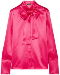 Akris - Pussy-bow Mulberry Silk-satin Blouse - Lyst