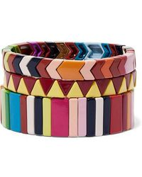 Roxanne Assoulin - Picnic Blanket Set Of Three Enamel Bracelets - Lyst
