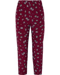 Marni - Cropped Floral-print Silk-crepe Slim-leg Trousers - Lyst